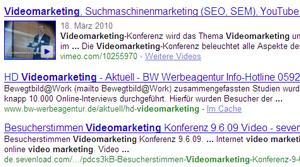 Videomarketing: Hervorhebung eines Videos in den Suchergebnissen von Google